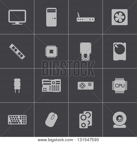 Vector black PC components icons set on grey background