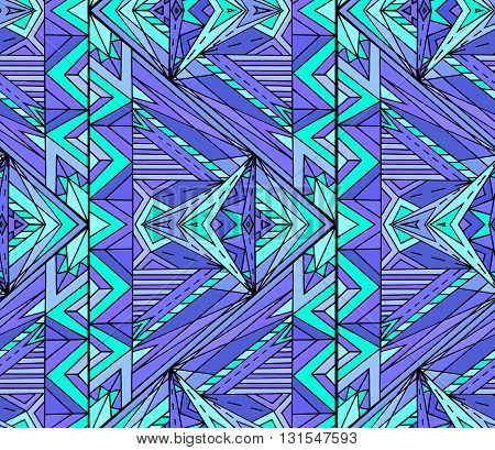 Abstract ethnic pattern in blue tones. Vector background for your creativity