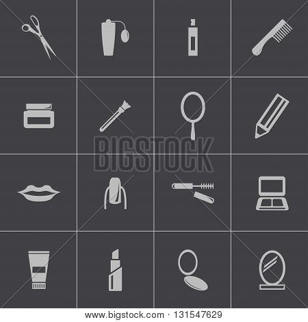 Vector black cosmetics icons set on grey background
