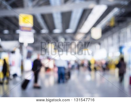 Blurred People crowd Travelling at Airport Interior