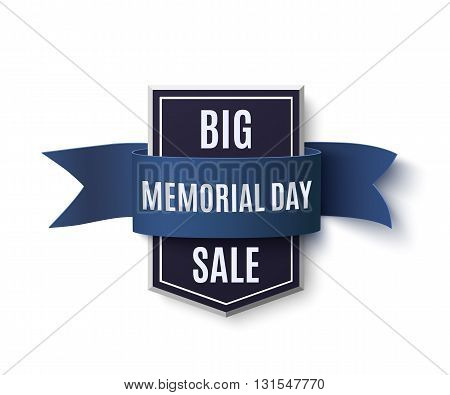 Big Memorial Day sale background template. Badge with blue ribbon isolated on white. Vector illustration.