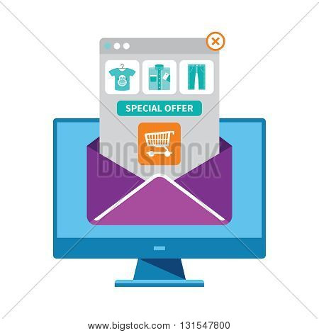 Ecommerce Email Marketing Vector Concept In Flat Style