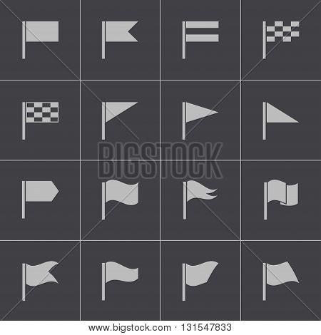 Vector black flag icons set on grey background