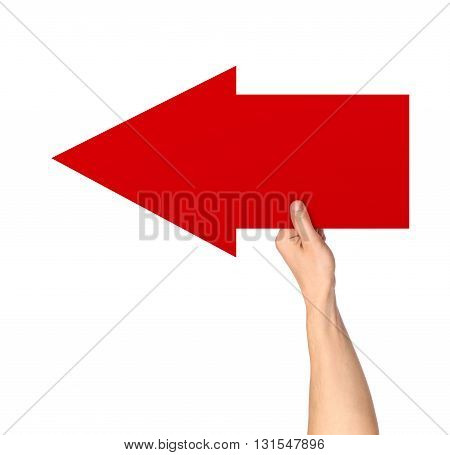 hand holding a red arrow pointer on isolated white background