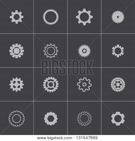 Vector black gears icons set on grey background