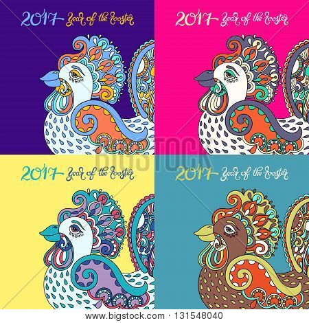 color collection original design for new year celebration chinese zodiac signs with decorative rooster, folk vector illustration with hand written lettering inscription 2017 year of the rooster