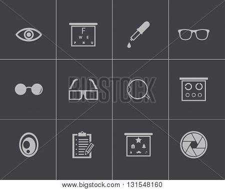 Vector black optometry icons set on grey background