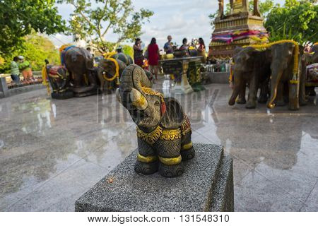 Elephant Sculpture To Worship In The Temple Or The Place For Worship , Thai Style
