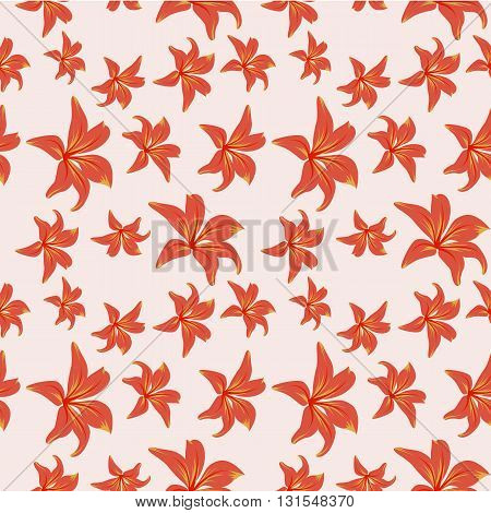 Red-orangeflowers on lite white-red background. Vector illustration.