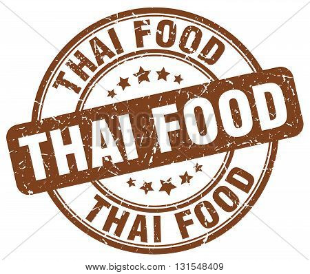 Thai Food Brown Grunge Round Vintage Rubber Stamp.thai Food Stamp.thai Food Round Stamp.thai Food Gr