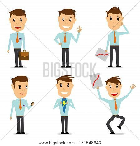 Set of businessman character in different situations isolated on white background. Design elements in vector.