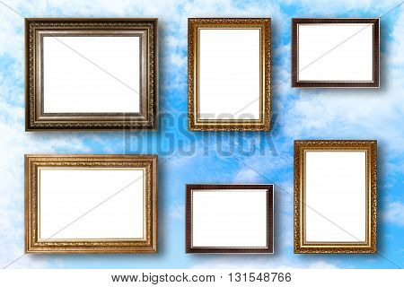 Set Of Picture Frame. Photo Art Gallery On Blue Sky Background.