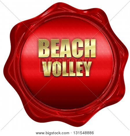 beach volley sign, 3D rendering, a red wax seal