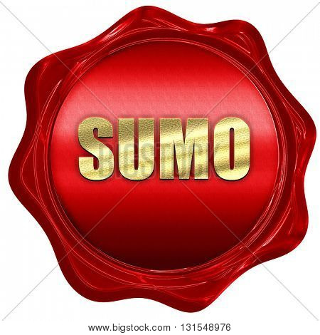 sumo sign background, 3D rendering, a red wax seal