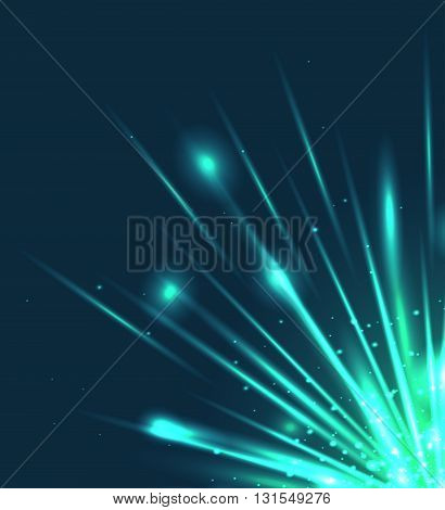 Vector illustration with the explosion and bright rays. Vector element for your design