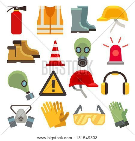 Safety work flat vector icons set. Workwear for safety, shoe and glove safety clothing, helmet and extinguisher illustration