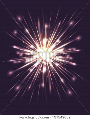 Bright explosion with rays and glare. Vector element for your creativity