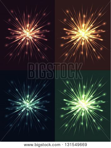 Set of bright explosions with rays and glare. Vector elements for your creativity