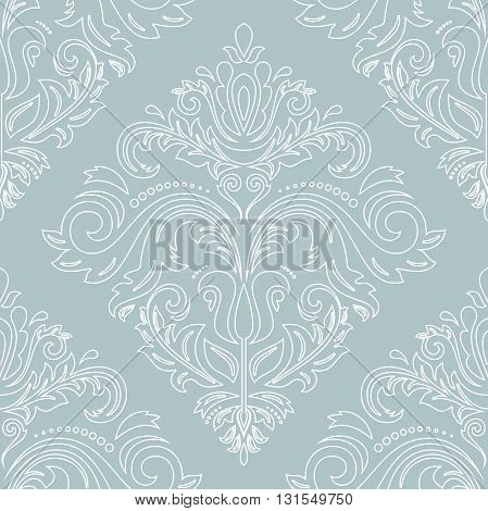 Damask seamless ornament with white outlines. Traditional pattern. Classic oriental background