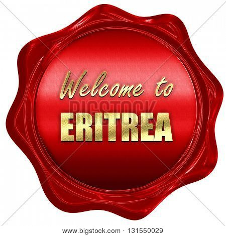 Welcome to eritrea, 3D rendering, a red wax seal