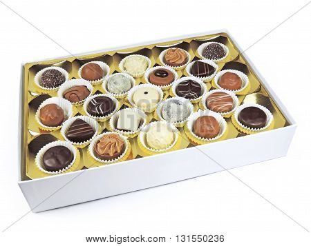 Chocolates box with chocolate truffles. Studio shot