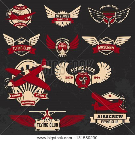 Set of flying club labels and emblems on grunge background. Design elements for logo label badge emblem sign.