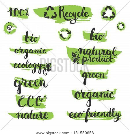 Set of handwritten brushpen lettering and calligraphy ecology word: organic eco ecology natural product bio recycle with elements on the green brush stamp. Template for eco logo label and badge.