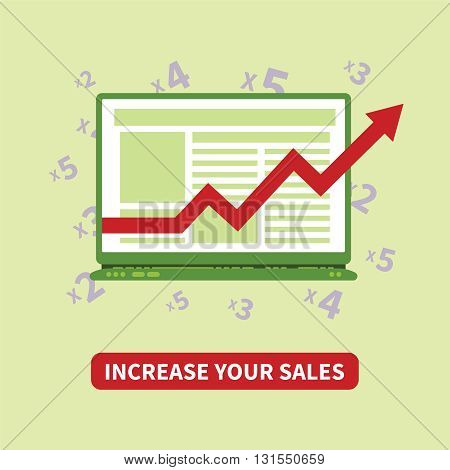Increase Your Sales Vector Concept In Flat Style