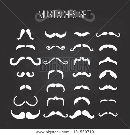 Happy Father's day mustaches set element greeting card isolated on the black chalkboard background. Illustration for Fathers Day invitations. Dad's day lettering.