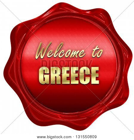 Welcome to greece, 3D rendering, a red wax seal