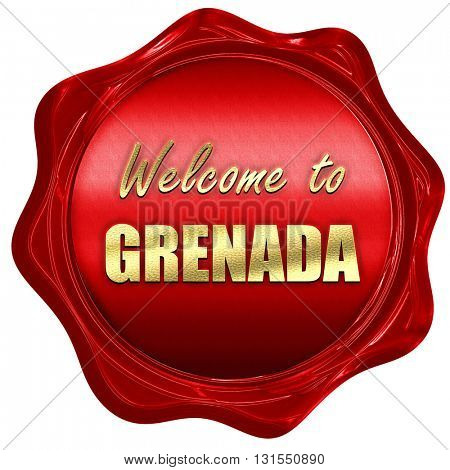 Welcome to grenada, 3D rendering, a red wax seal