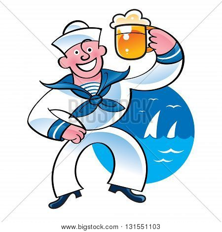 Merry sailor holding beer mug on the sea background