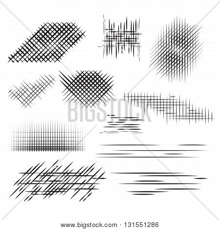 Set pencil strokes, halftone, engraving. Vector element for your design