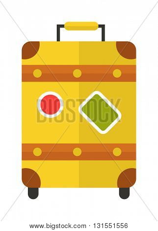 Yellow suitcase vector illustration.