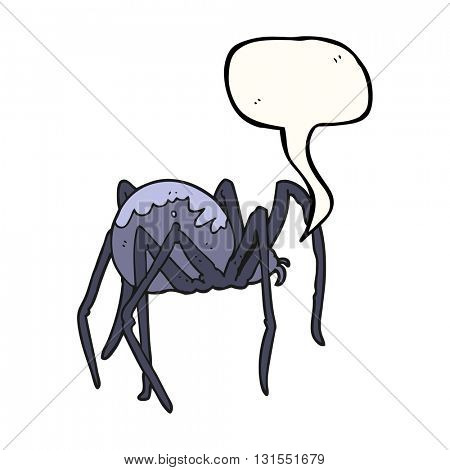 freehand drawn speech bubble cartoon creepy spider