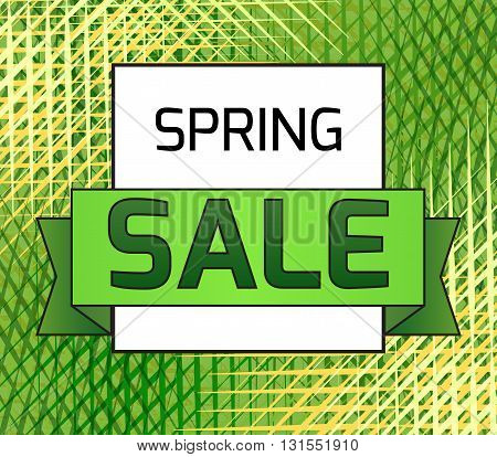 Banner Spring sale with tape and with strokes background. Vector element for your design