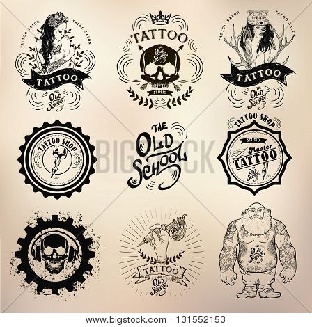 set Vector tattoo studio logo templates on dark background. Cool retro styled vector emblems.