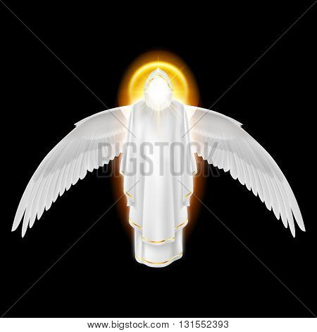Gods guardian angel in white dress with golden radiance and wings down on black background. Archangels image. Religious concept