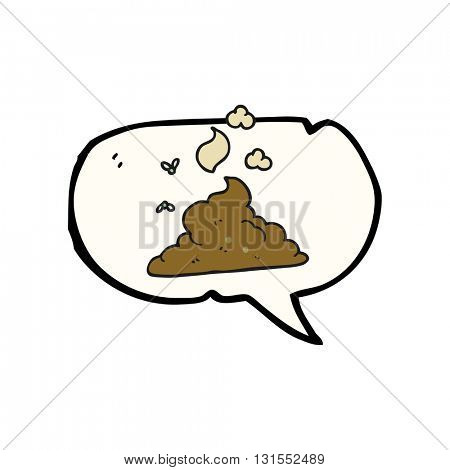 freehand drawn speech bubble cartoon steaming pile of poop