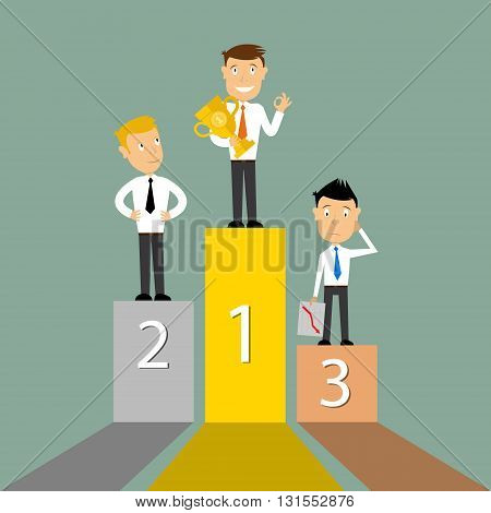 Winners Podium Symbol Vector Illustration. First winner hold the trophy. Business concept. Vector illustration.