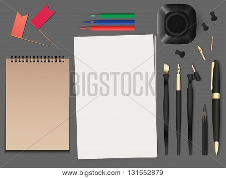 Set of realistic vector stationery. Vector elements for your design and presentations