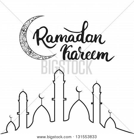 Ramadan Kareem greeting card background with moon lettering and mosque. Vector illustration for Ramadan - holiest month in the Islamic calendar for Muslims.