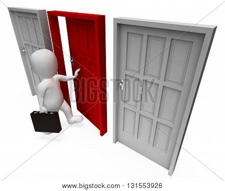 Character Doors Shows Business Person And Path 3D Rendering
