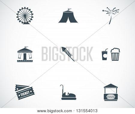 Vector black carnival icons set on white background