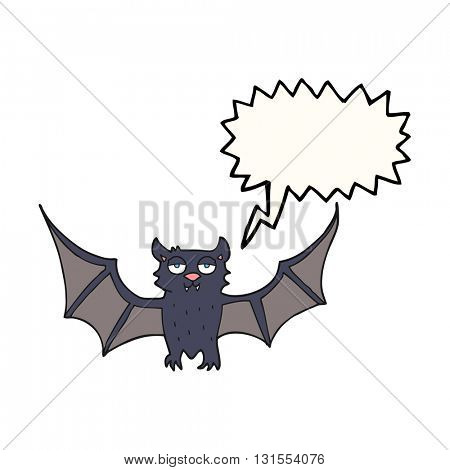 freehand drawn speech bubble cartoon halloween bat