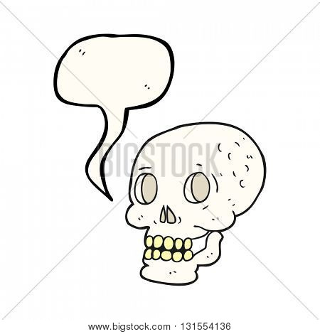 freehand drawn speech bubble cartoon halloween skull