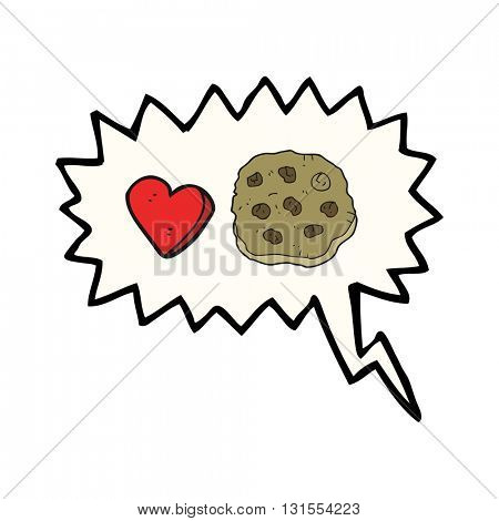 freehand drawn speech bubble cartoon cookie