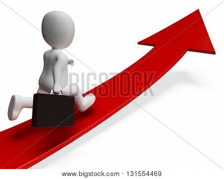 Direction Arrow Represents Business Person And Advance 3D Rendering