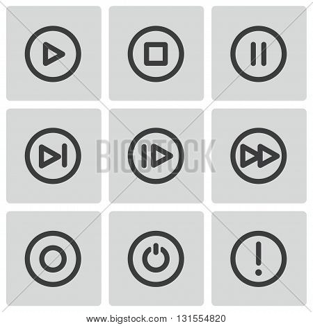 Vector black media buttons icons set on white background