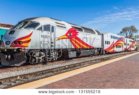 Santa Fe, New Mexico, April 7 2014: Locomotive decorated with the image of the road runner in Santa Fe Railyard